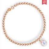 18K金 日本天海水珍珠手链串女士款 天然白
